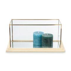Decoratiebak rechthoekig – glas/hout – 35x18x17 cm