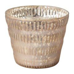 Theelichthouder taps – oud roze/goud – 12×10 cm
