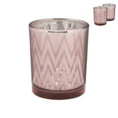 Theelichthouder metallic – roze – 7.5×6 cm
